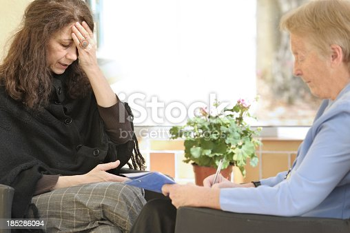 istock Grieving woman speaking to a therapist 185286094