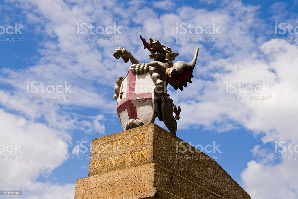 Griffin at an entrance to the City of London stock photo