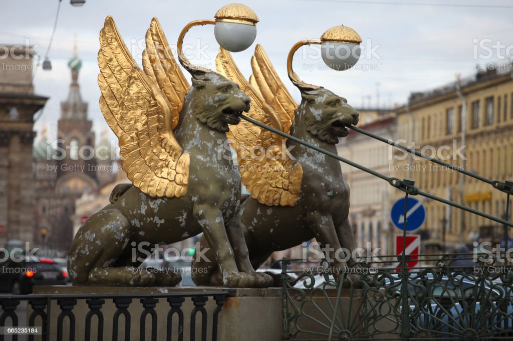 Griffins winged  lions bank bridge in St. Petersburg stock photo