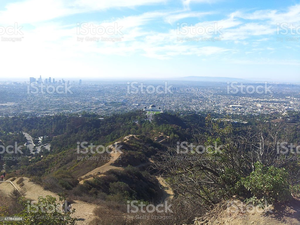 Griffith Observatory and Downtown L.A. royalty-free stock photo