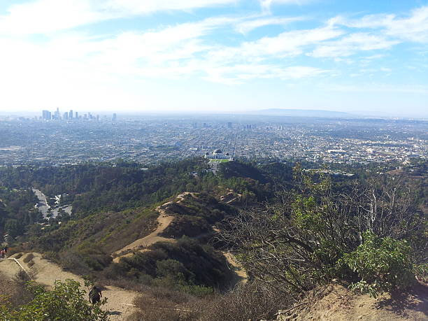 Griffith Observatory and Downtown L.A. stock photo