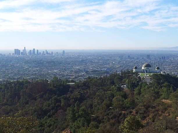 Griffith Observatory and Downtown Los Angeles stock photo