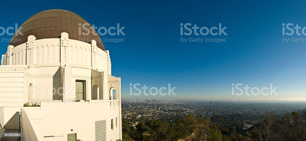 Griffith Observatory and downtown LA royalty-free stock photo