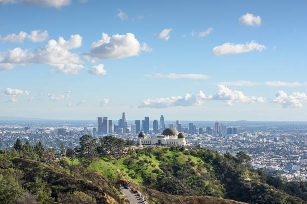 Griffith Observatory and Los Angeles at sunny day stock photo