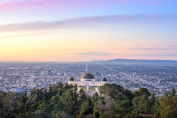 Griffith Observatory and Los Angeles at sunrise stock photo