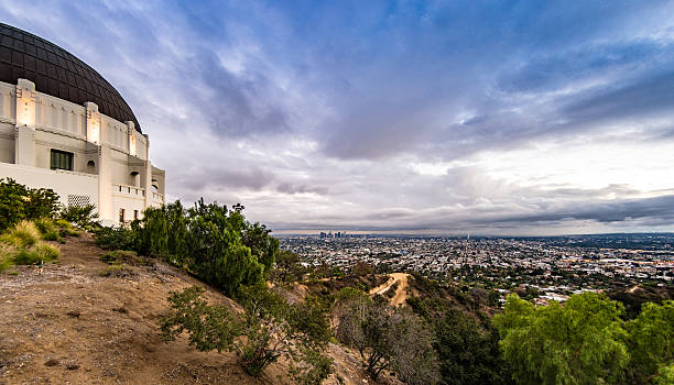 Griffith Observatory and Los Angeles Skyline stock photo
