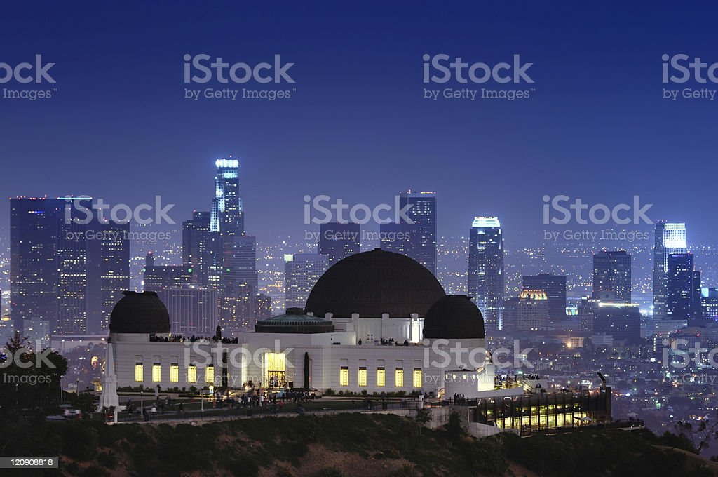 Griffith Observatory with a cityscape background stock photo