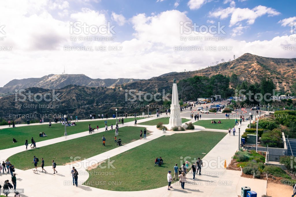 Griffith Park in Los Angeles, aerial view stock photo