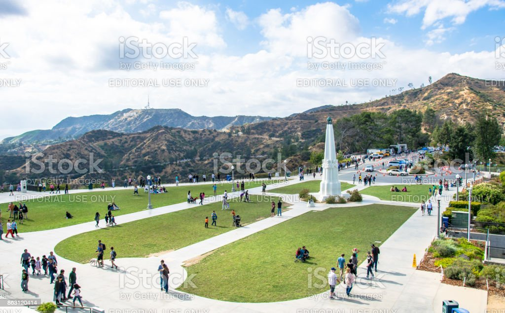 Griffith Park in Los Angeles, view from the air. Famous Tourist Attraction stock photo