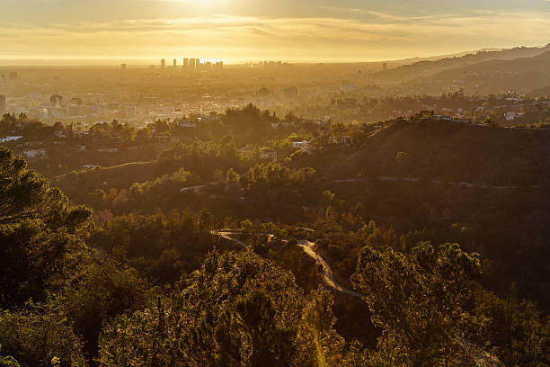 Griffith Park Trails and Century City at Sunset stock photo