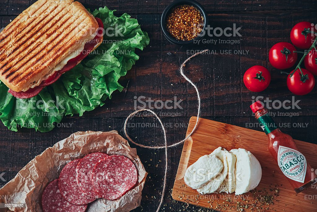 Griled panini sandwich. Flat lay. stock photo