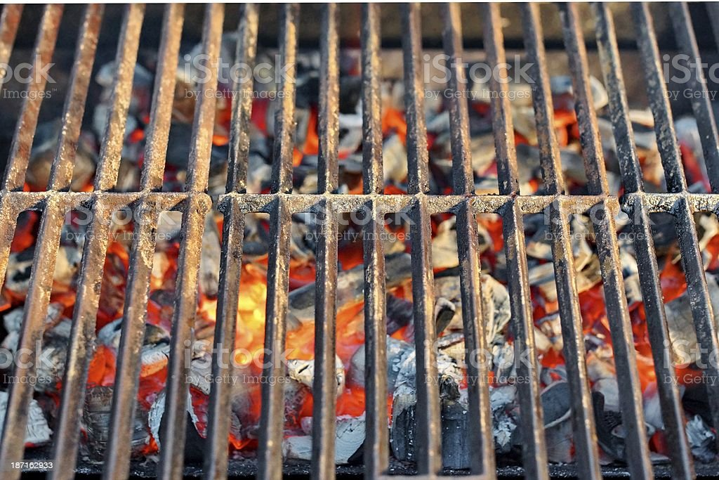 BBQ Grill and  Burning Charcoal XXXL royalty-free stock photo