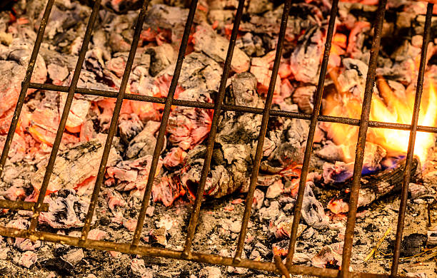 Grill and embers for doing barbacue. stock photo