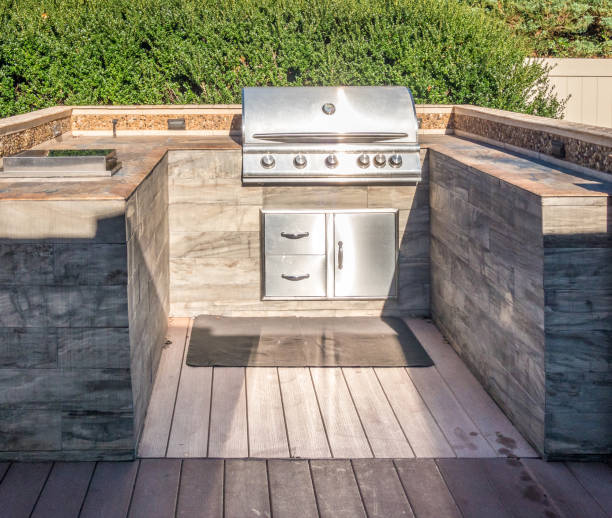 Grill at private backyard stock photo