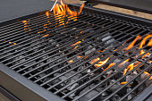 istock Grill, BBQ, fire, charcoal barbecue, closeup. 1078278802