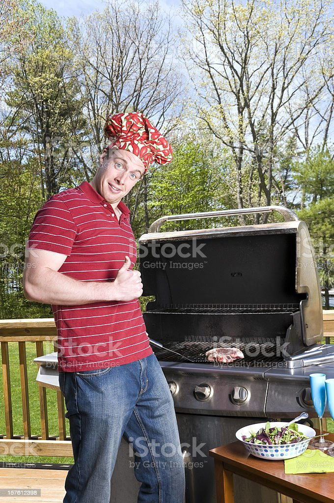 Grill Chef thumbs up stock photo