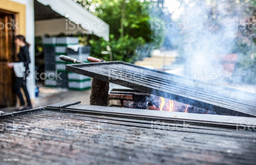 Grill heating up ready to start cooking stock photo
