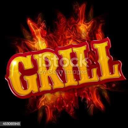 istock grill label with flames on black background 453065945
