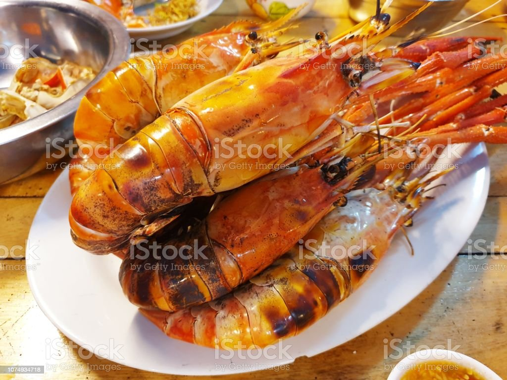 Grill Lobsters Local Lobsters Grill Barbecue Barbecue - Meal Stock Photo