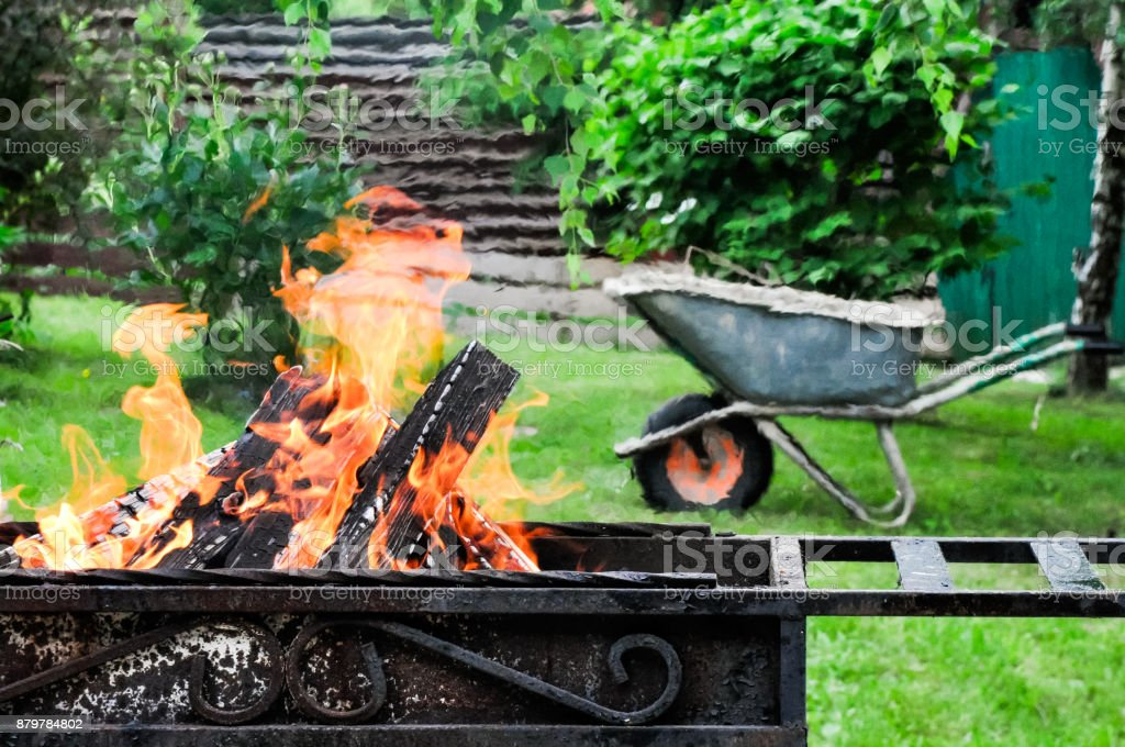 grill mangal with burning stock photo