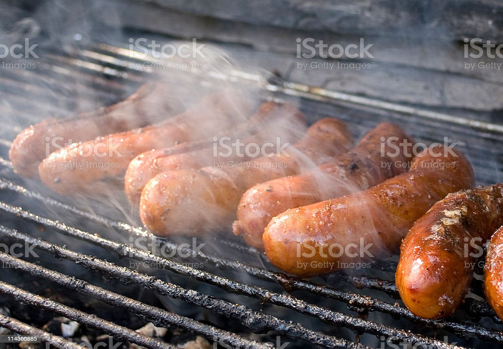 Grill of sausages. royalty-free stock photo