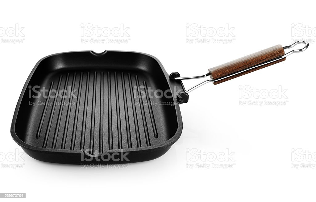 Grill pan isolated on white background stock photo