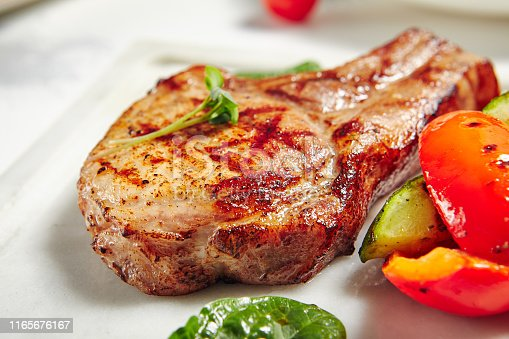 Grill Restaurant Meat Menu - Grill Pork Chops with Vegetables