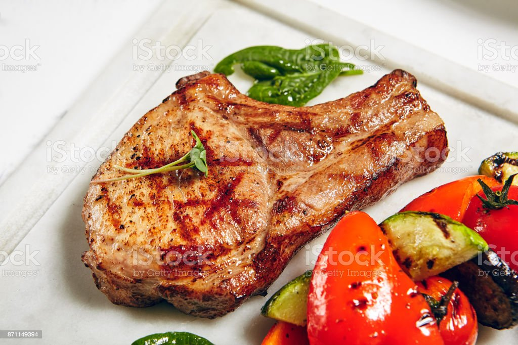 Grill Pork Chops Stock Photo & More Pictures of Barbecue
