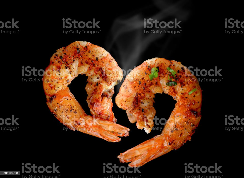 Grill Shrimp BBQ style . stock photo
