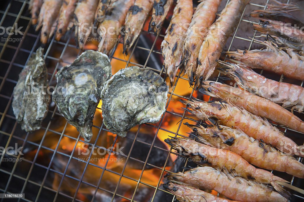 grill with flames on Charcoal fire royalty-free stock photo