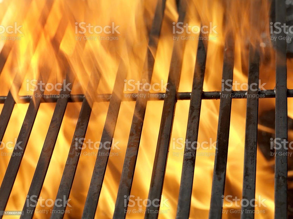 BBQ Grill with Flames royalty-free stock photo