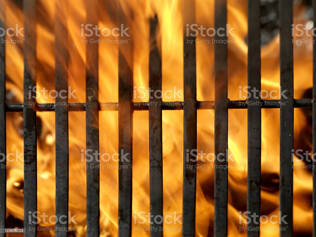 BBQ Grill with Flames stock photo