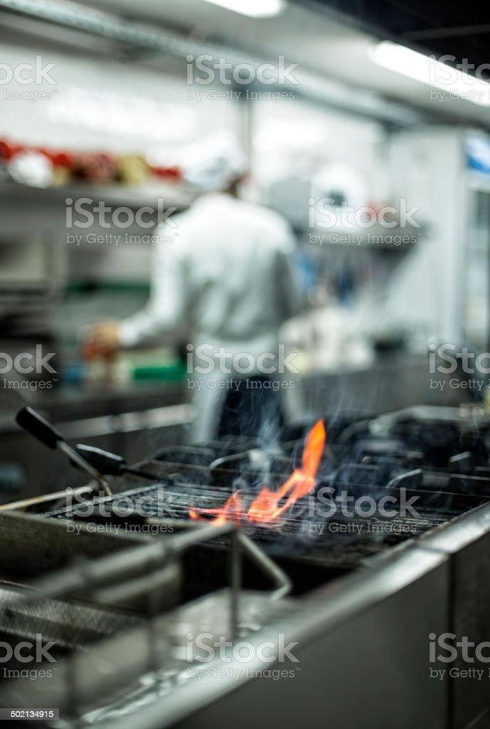 Grill with flames royalty-free stock photo