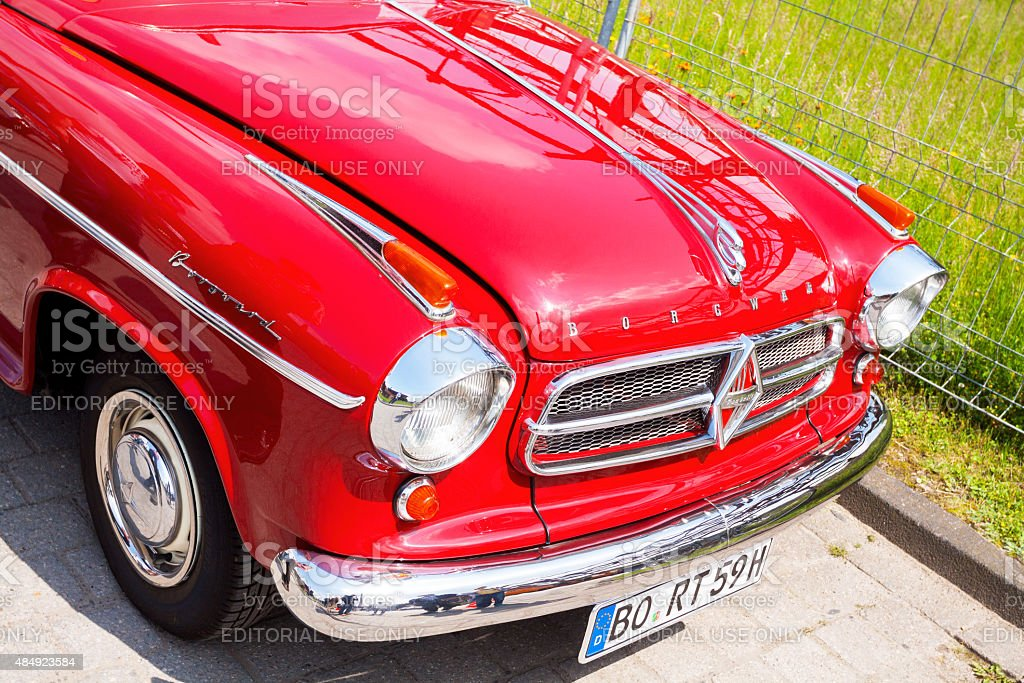 Grille and engine bonnet of red Borgward oldtimer stock photo