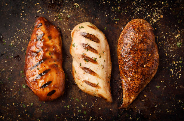 Grilled and Roast chicken breast with seasoning stock photo