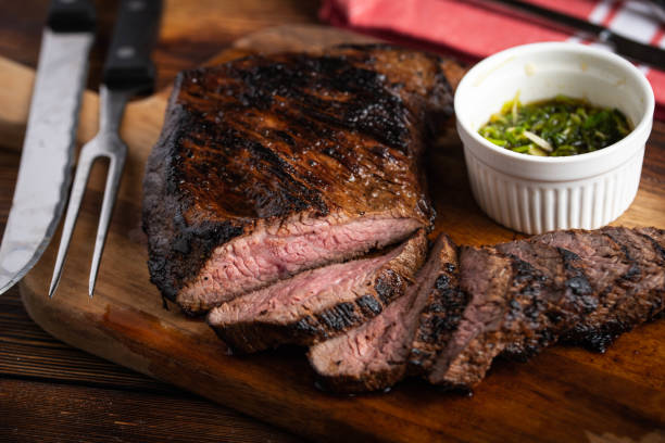 grilled and sliced tri tip steak stock photo