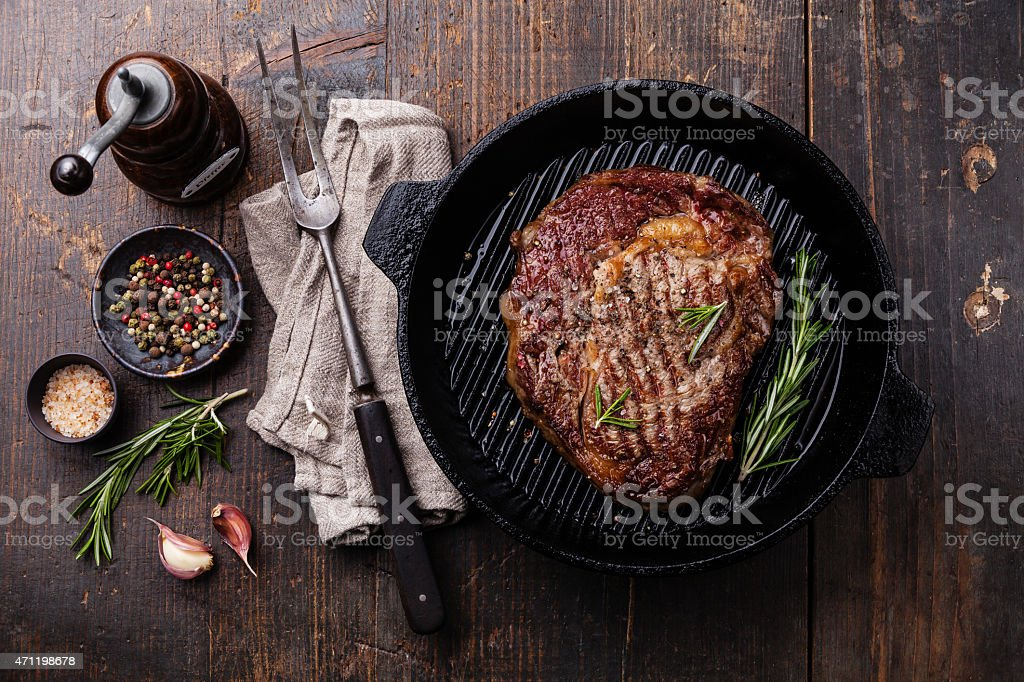Grilled Angus Steak on grill pan stock photo