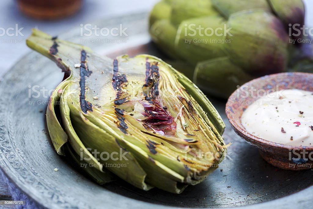 Grilled Artichoke stock photo
