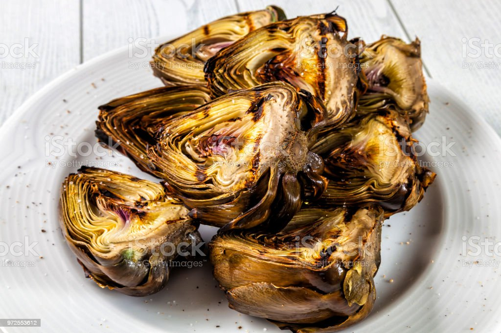 Grilled artichokes stock photo