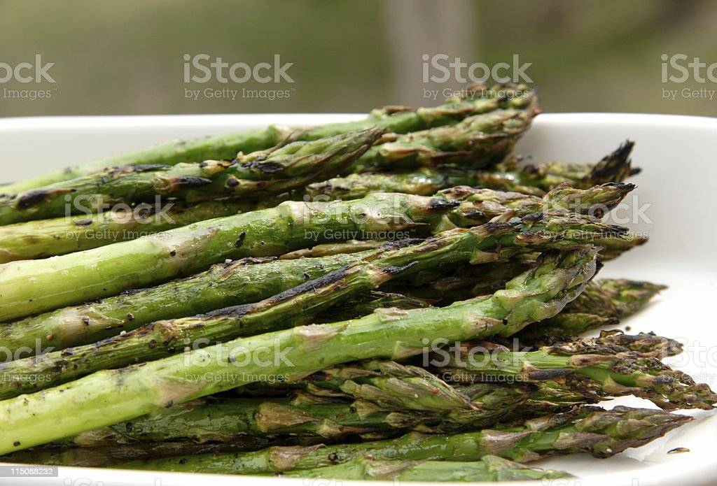 grilled asparagus dish stock photo