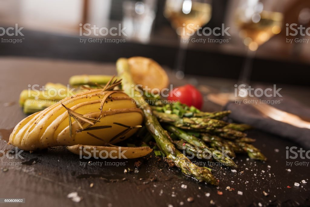 Grilled asparagus in a restaurant stock photo