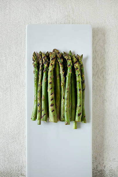grilled asparagus - grilled vegetables stock photos and pictures