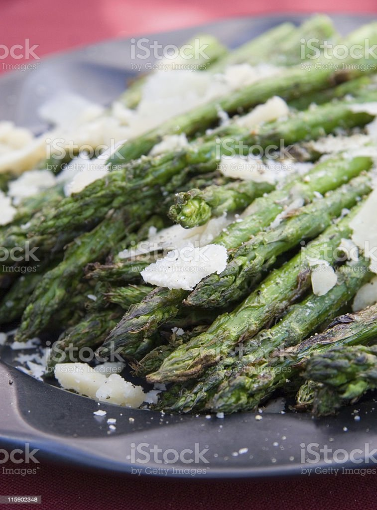 Grilled Asparagus with Parmesan and Sea Salt royalty-free stock photo