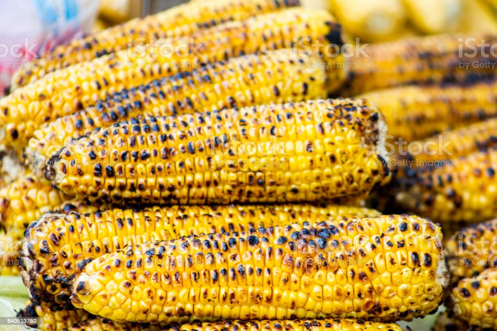 grilled barbacued corn on sale in istanbul turkey stock photo