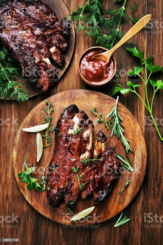 Grilled barbecue pork ribs stock photo
