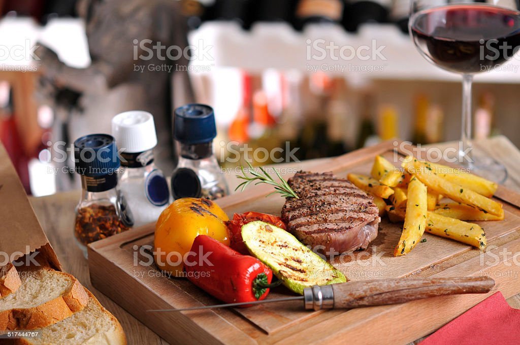 Grilled barbecue steak, meatball and chicken stock photo