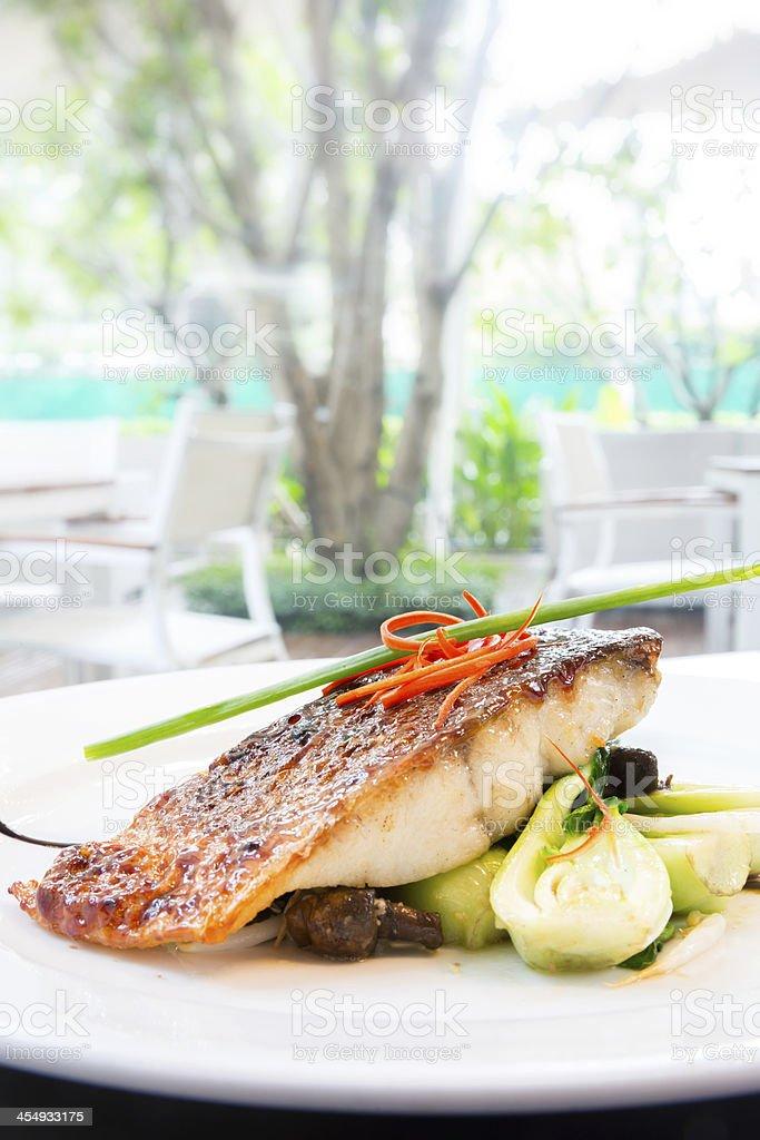 grilled barramundi steak stock photo