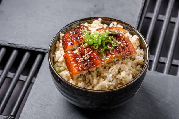 grilled bbq eel over brown rice - peixe na grelha imagens e fotografias de stock
