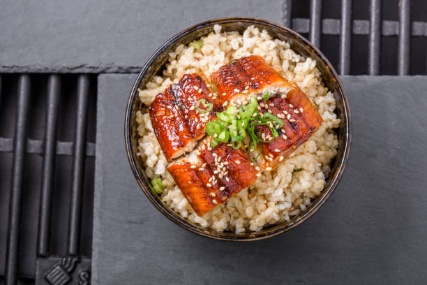 Grilled BBQ Eel over Brown Rice stock photo