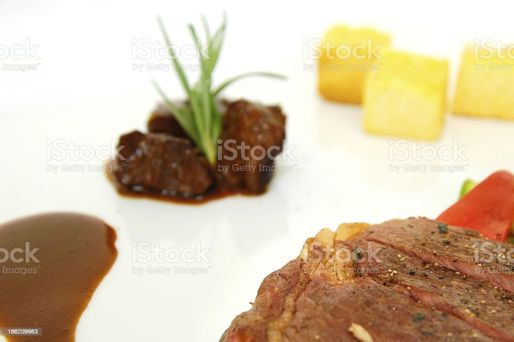 Grilled beef fillet on the dish royalty-free stock photo